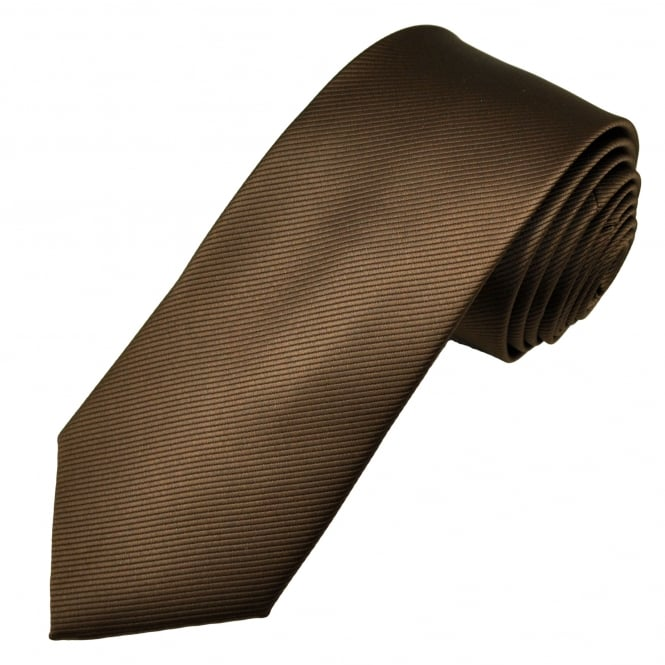 Plain Chocolate Brown Ribbed Men's Tie