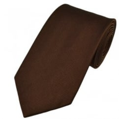 Plain Chocolate Brown Silk Tie