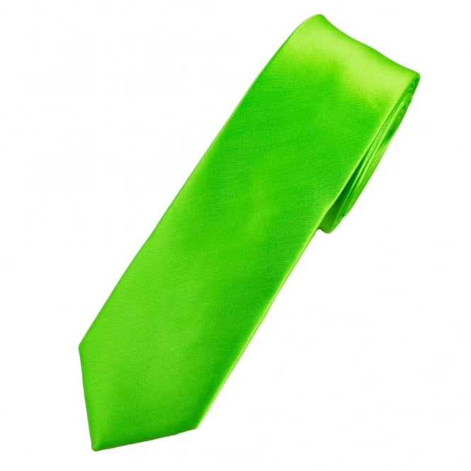 Plain Citrus Green Skinny Tie