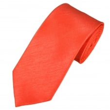 Plain Coral Shantung Men's Tie