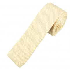 Plain Cream Knitted Skinny Tie