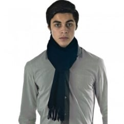 Plain Dark Blue 100% Wool Scarf