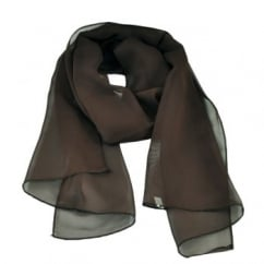Plain Dark Brown Chiffon Scarf