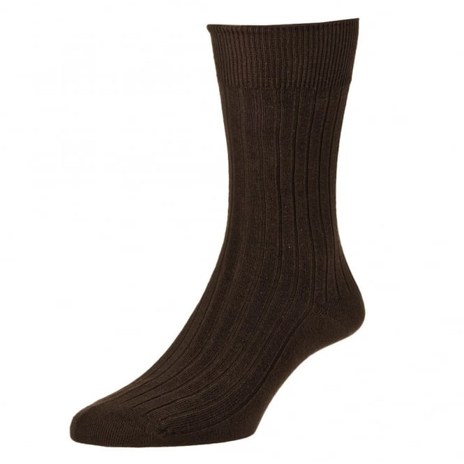 Plain Dark Brown Classic Rib Executive Men's Socks by HJ Hall