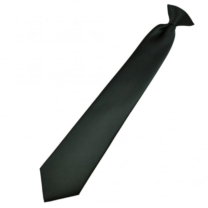 Plain Dark Grey Clip-On Tie