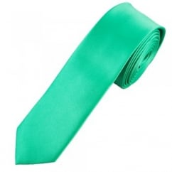 Plain Dark Mint Green Skinny Tie