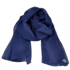 Plain Dark Royal Blue Chiffon Scarf