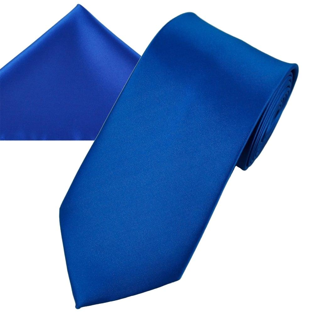 a6848b798f6f8 Plain Dark Royal Blue Men's Satin Tie & Pocket Square Handkerchief Set from  Ties Planet UK
