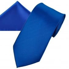 Plain Dark Royal Blue Men's Satin Tie & Pocket Square Handkerchief Set