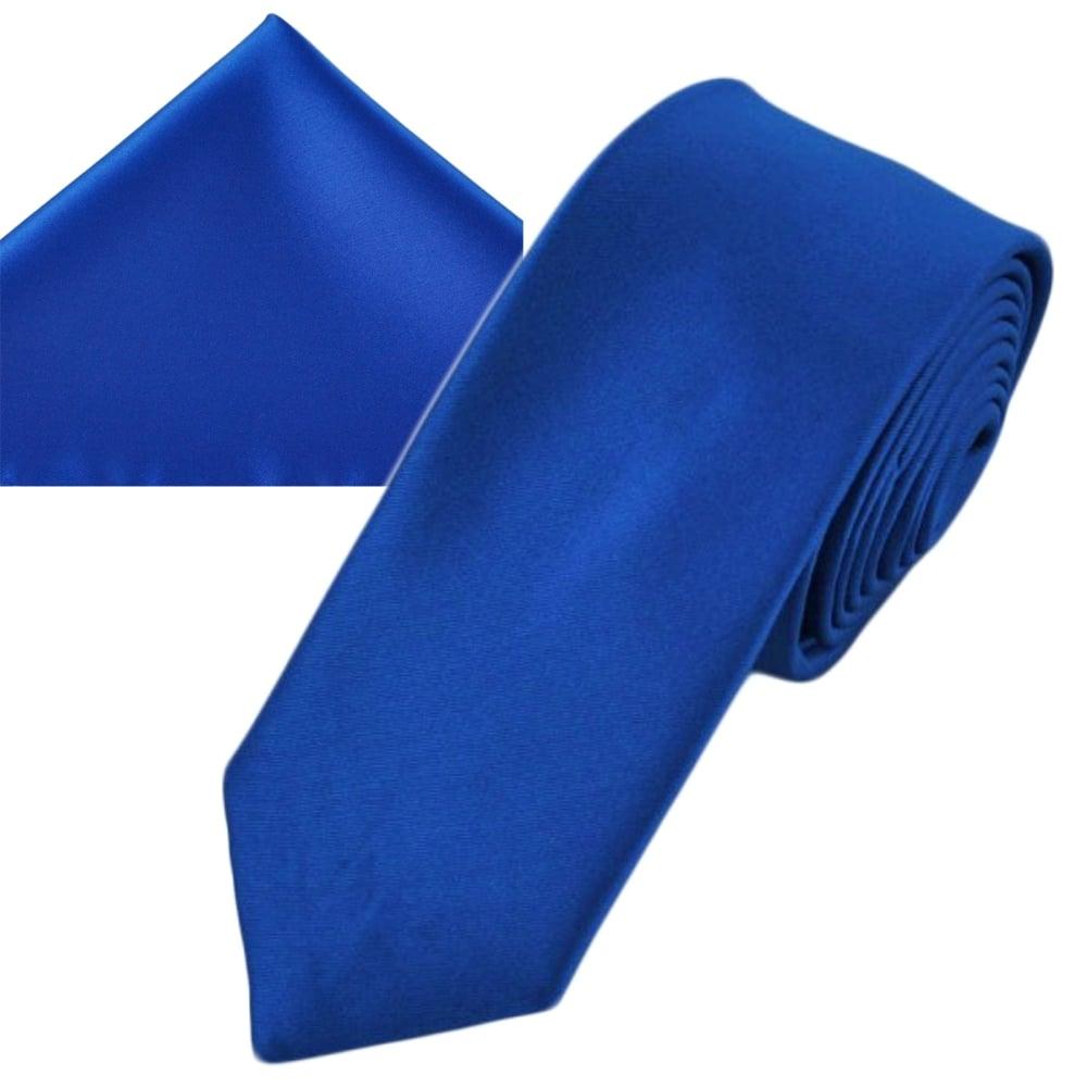 6c47c2739176 Plain Dark Royal Blue Men's Skinny Tie & Pocket Square Handkerchief Set  from Ties Planet UK
