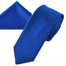 Plain Dark Royal Blue Men's Skinny Tie & Pocket Square Handkerchief Set