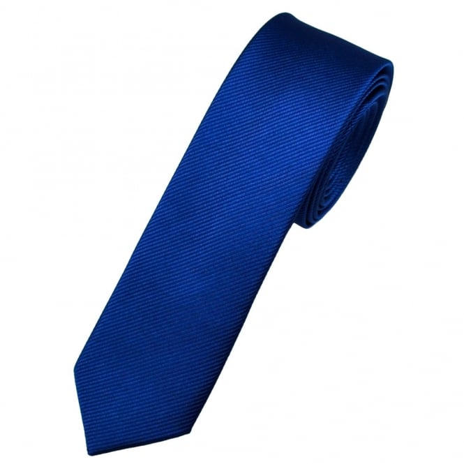 Plain Dark Royal Blue Silk Skinny Tie