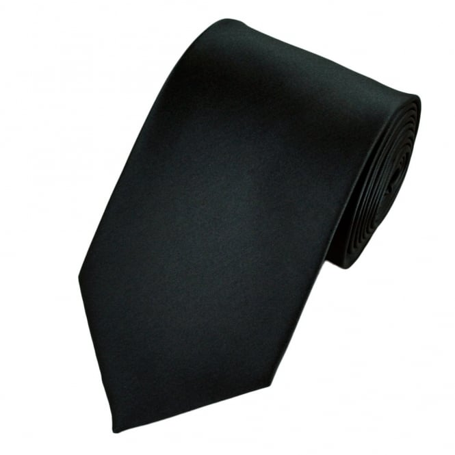 plain dark slate grey satin tie