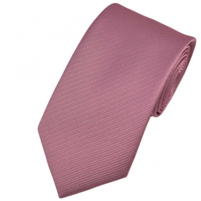 Plain Dusty Pink Ribbed Tie