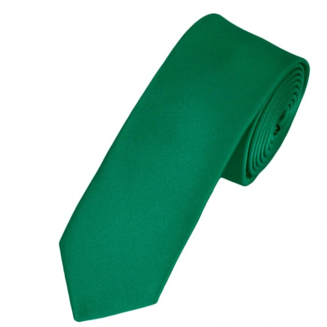 Plain Emerald Green Boys Skinny Tie