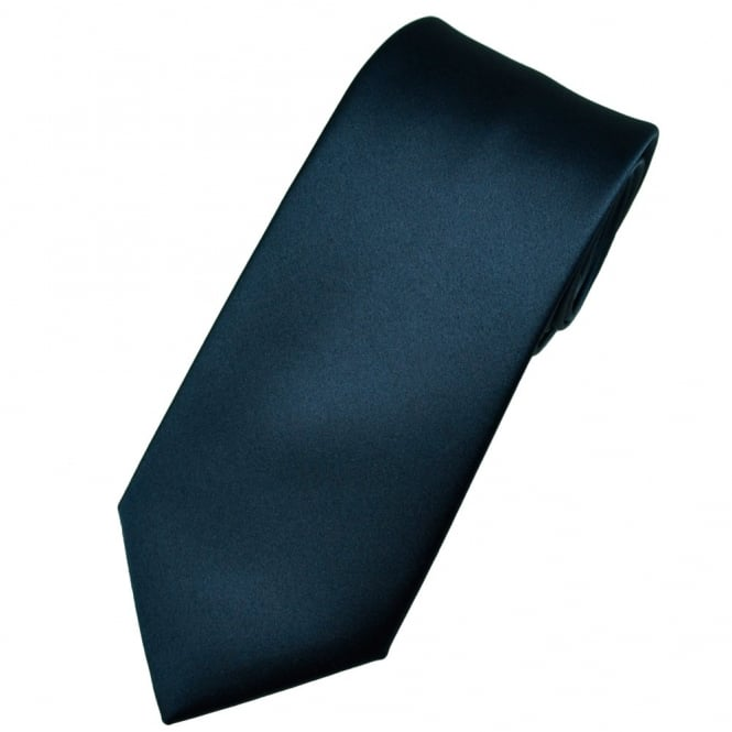 Plain French Navy Blue Men's Satin Tie