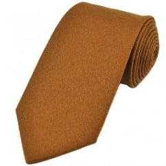 Plain Gold Brown Wool Tie