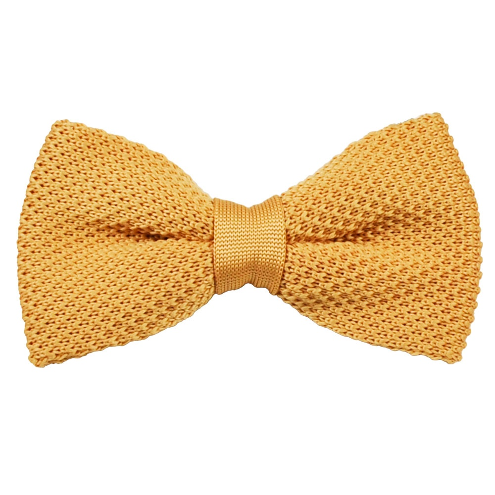 plain gold knitted bow tie from ties planet uk