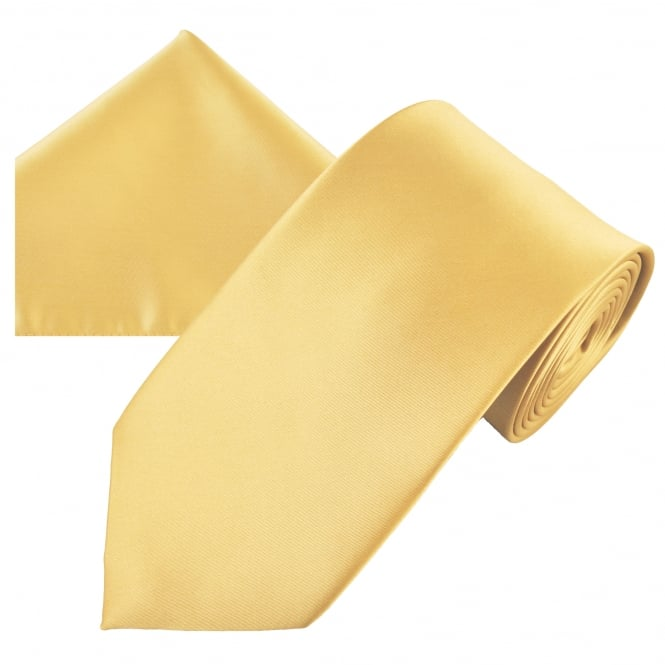Plain Gold Men's Satin Tie & Pocket Square Handkerchief Set