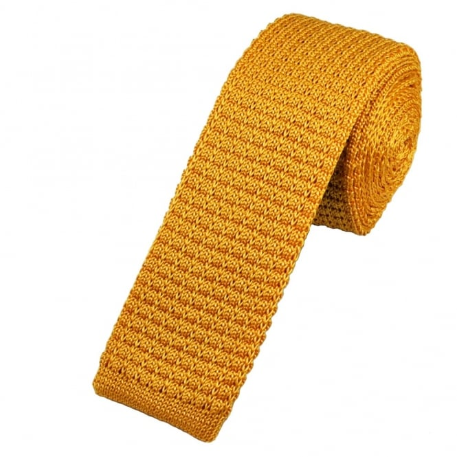 Plain Gold Silk Knitted Tie