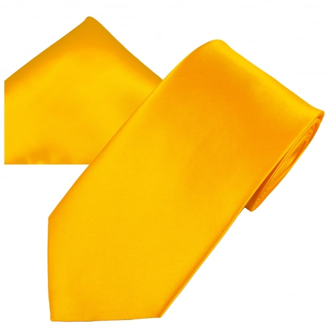 Plain Golden Yellow Men's Satin Tie & Pocket Square Handkerchief Set