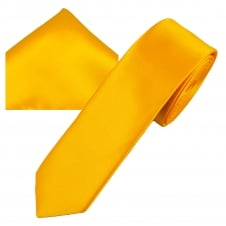 Plain Golden Yellow Men's Skinny Tie & Pocket Square Handkerchief Set