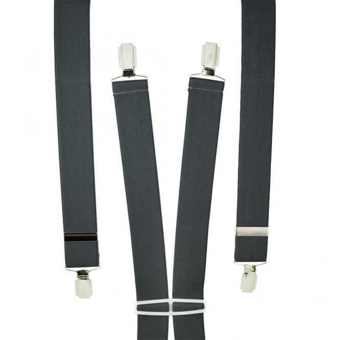 Plain Grey Men's Trouser Braces - Silver Clips