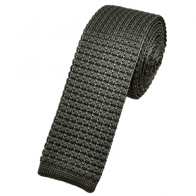 Plain Grey Silk Knitted Tie
