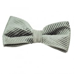 Plain Grey Silk Pleated Bow Tie