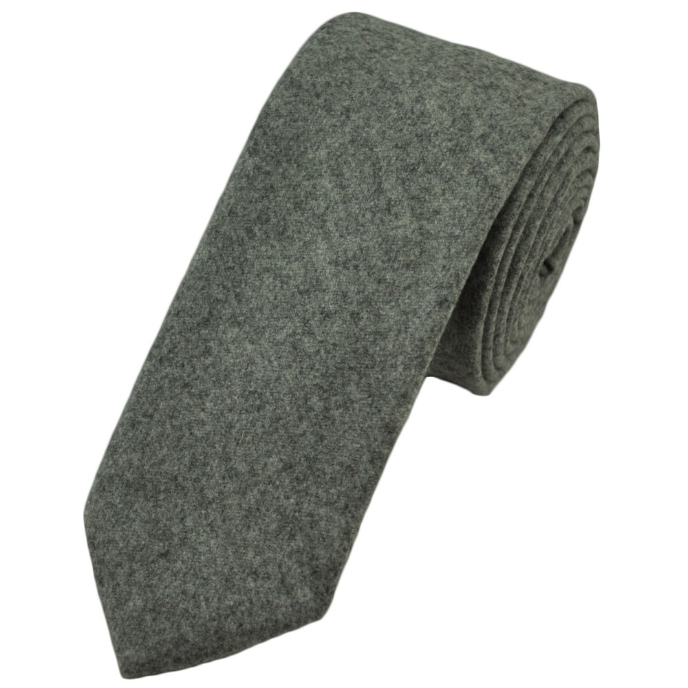 plain grey wool slim tie by profuomo from ties planet uk