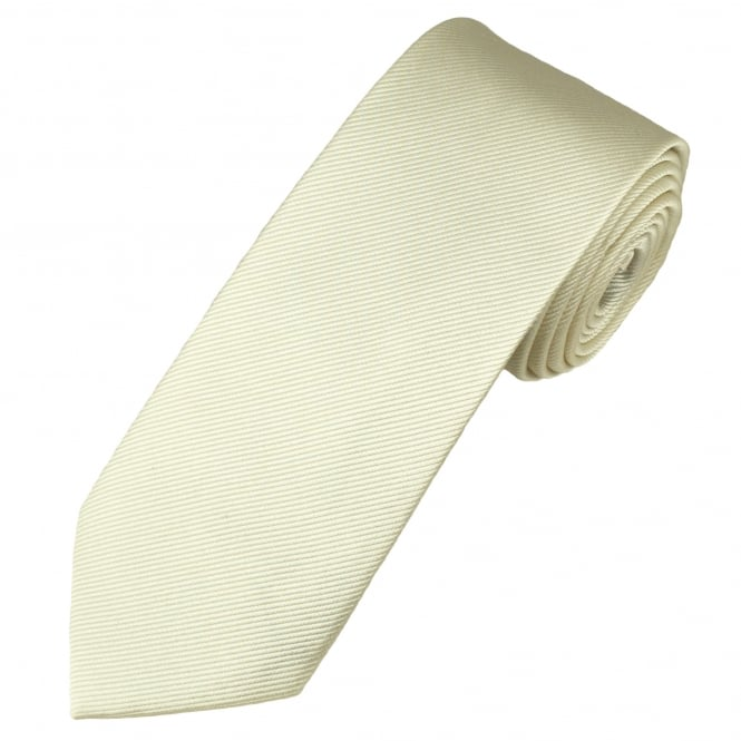 Plain Ivory Men's Silk Tie