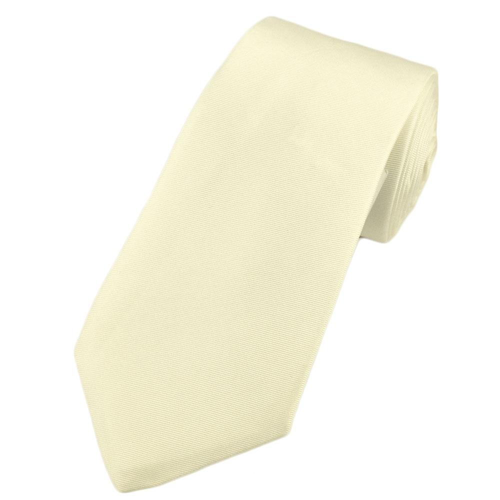plain ivory narrow silk tie from ties planet uk