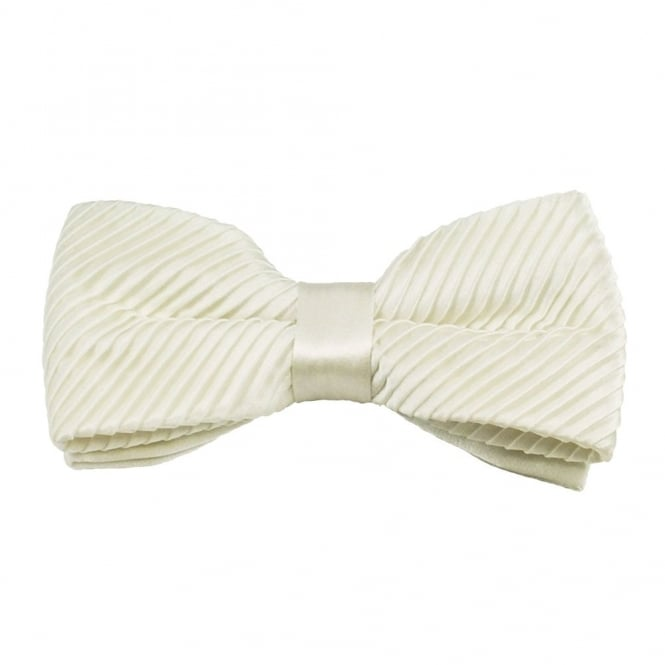 Plain Ivory Silk Pleated Bow Tie
