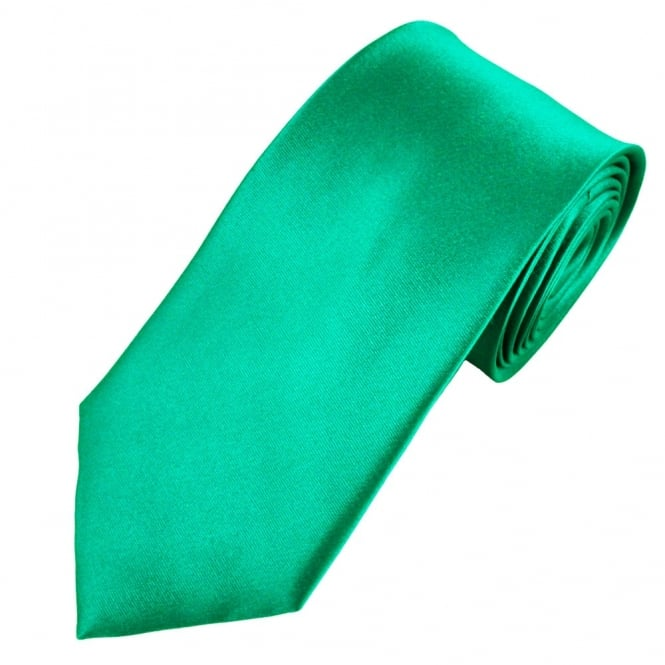 Plain Jade Green Silk Satin Men's Tie