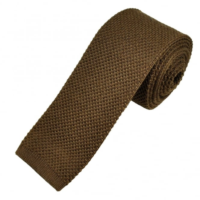 7296f79f3da9 Plain Khaki Brown Men's Wool Knitted Narrow Tie from Ties Planet UK