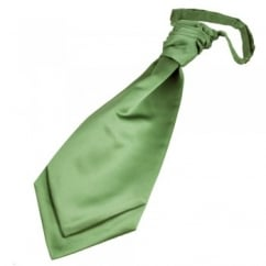Plain Leaf Green Boys Scrunchie Wedding Cravat