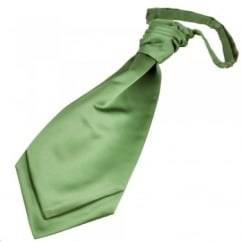 Plain Leaf Green Scrunchie Wedding Cravat