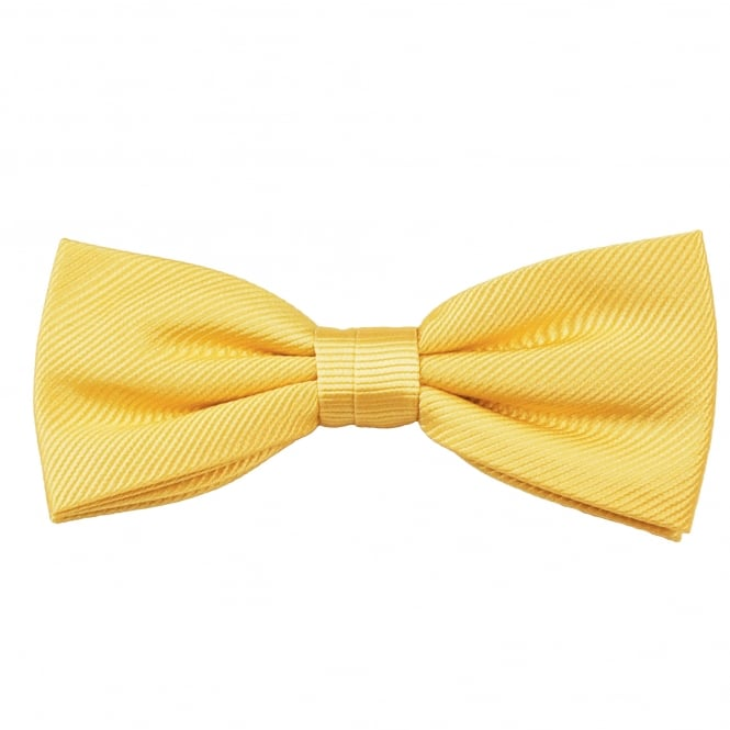 Plain Lemon Yellow Silk Bow Tie