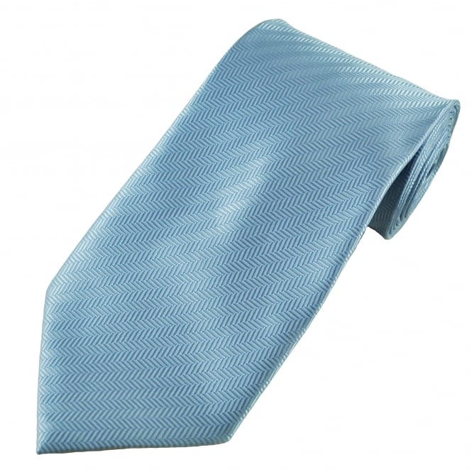 Plain Light Blue Chevron Self Patterned Men's Tie