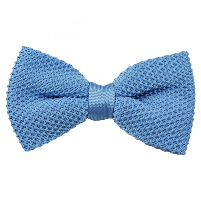 Plain Light Blue Knitted Bow Tie