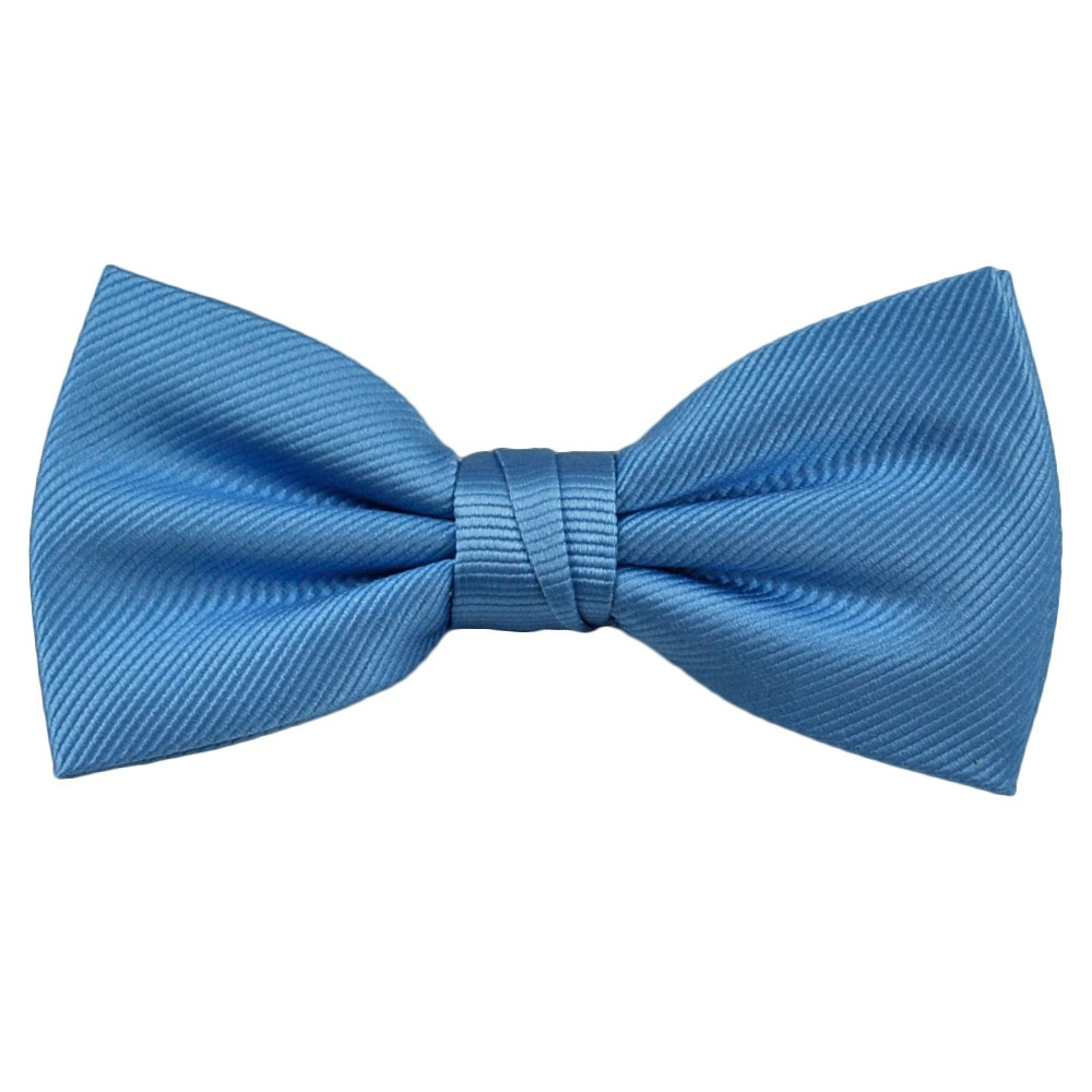 plain light blue ribbed silk bow tie from ties planet uk