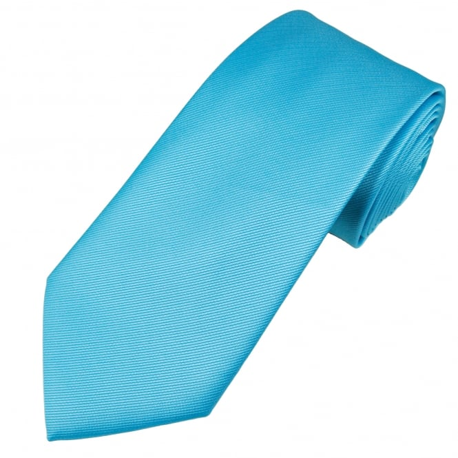 Plain Light Blue Ribbed Tie