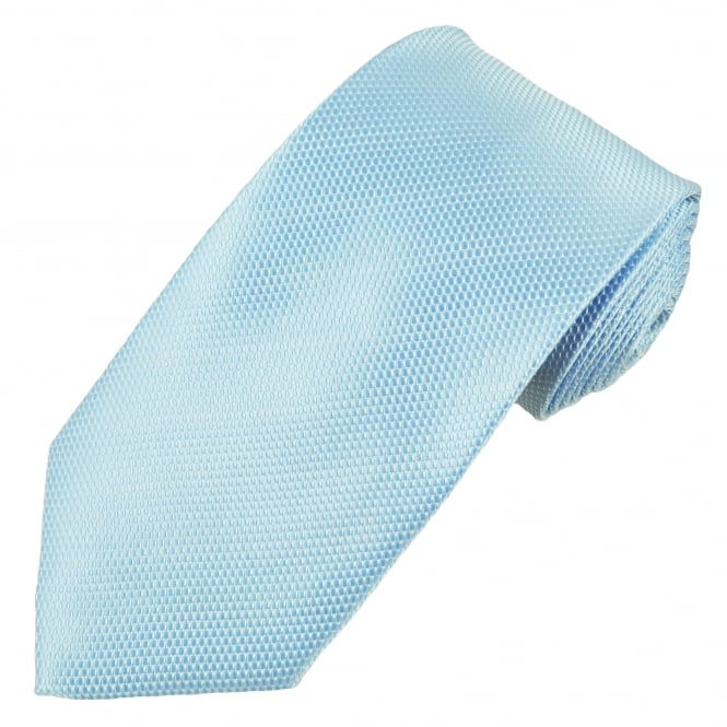 Plain Light Blue Self Patterned Men's Tie