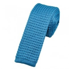 Plain Light Blue Silk Knitted Tie