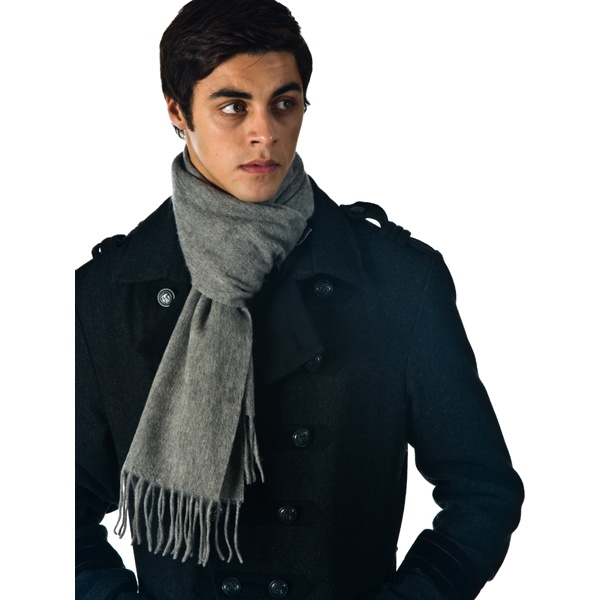 Plain light grey men s 100 wool scarf from ties planet uk
