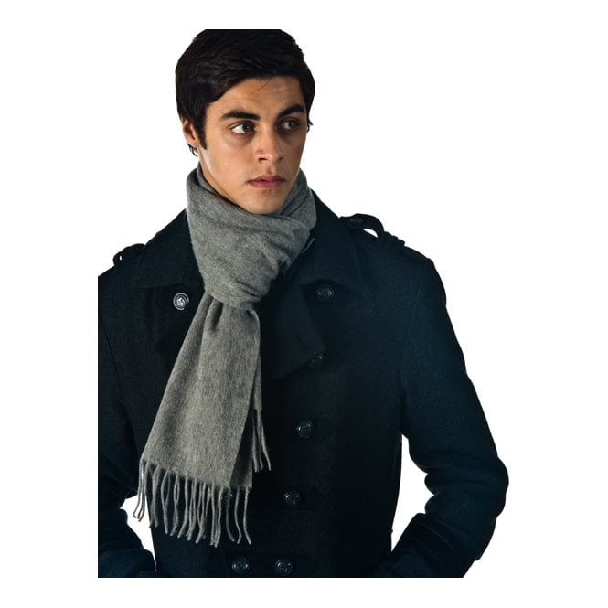 Plain Light Grey Men's 100% Wool Scarf