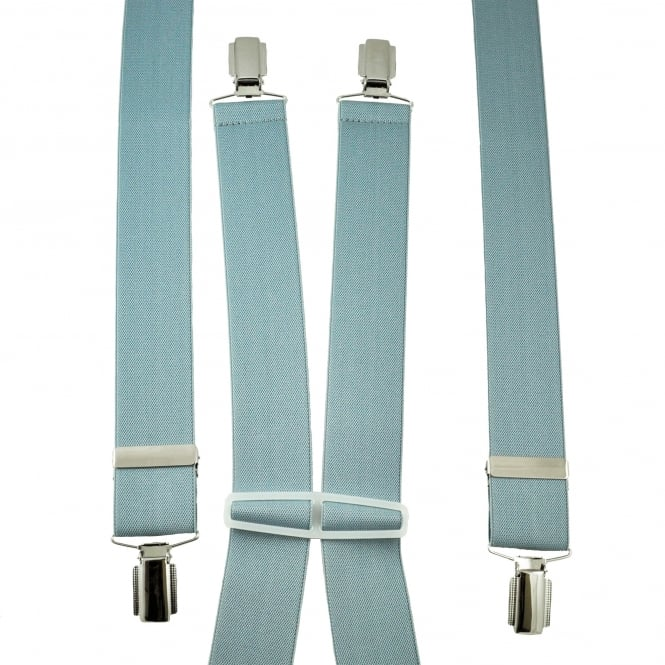 Plain Light Grey Men's Trouser Braces - Silver Clips
