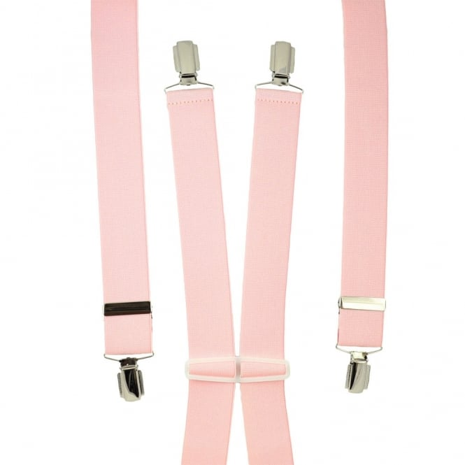Plain Light Pink Men's Trouser Braces - Silver Clips