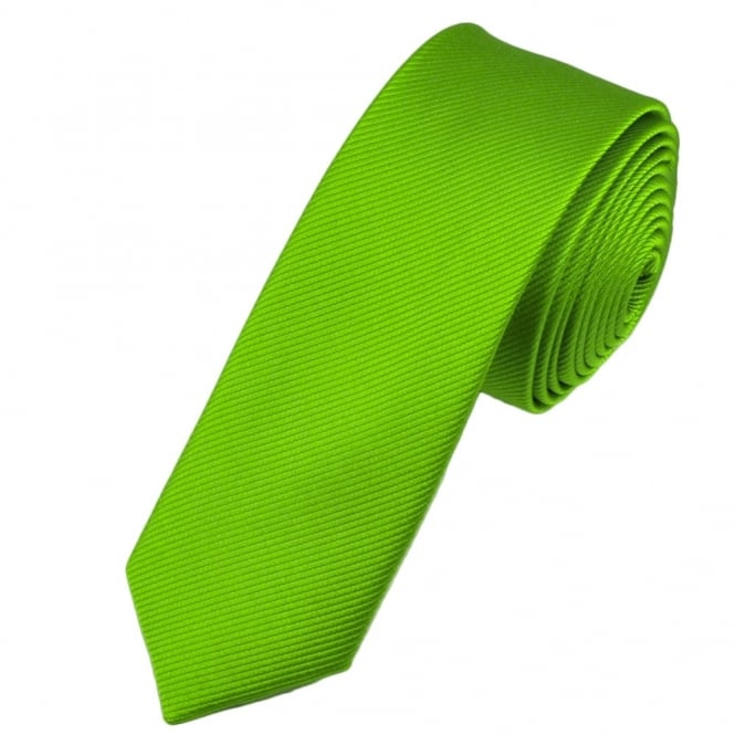 Plain Lime Green Silk Skinny Tie