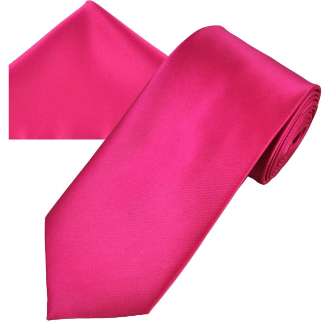Ties Planet Plain Lipstick Pink Men's Satin Tie & Pocket Square Handkerchief Set